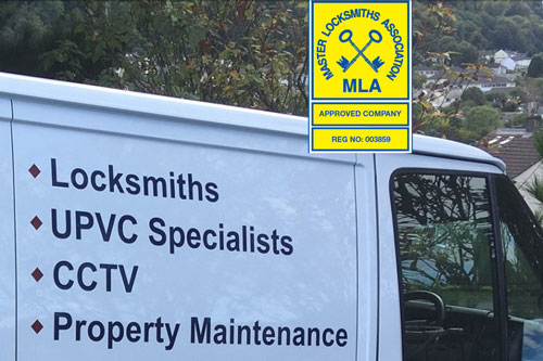 ASAP Locksmith Totnes MLA approved badge with van